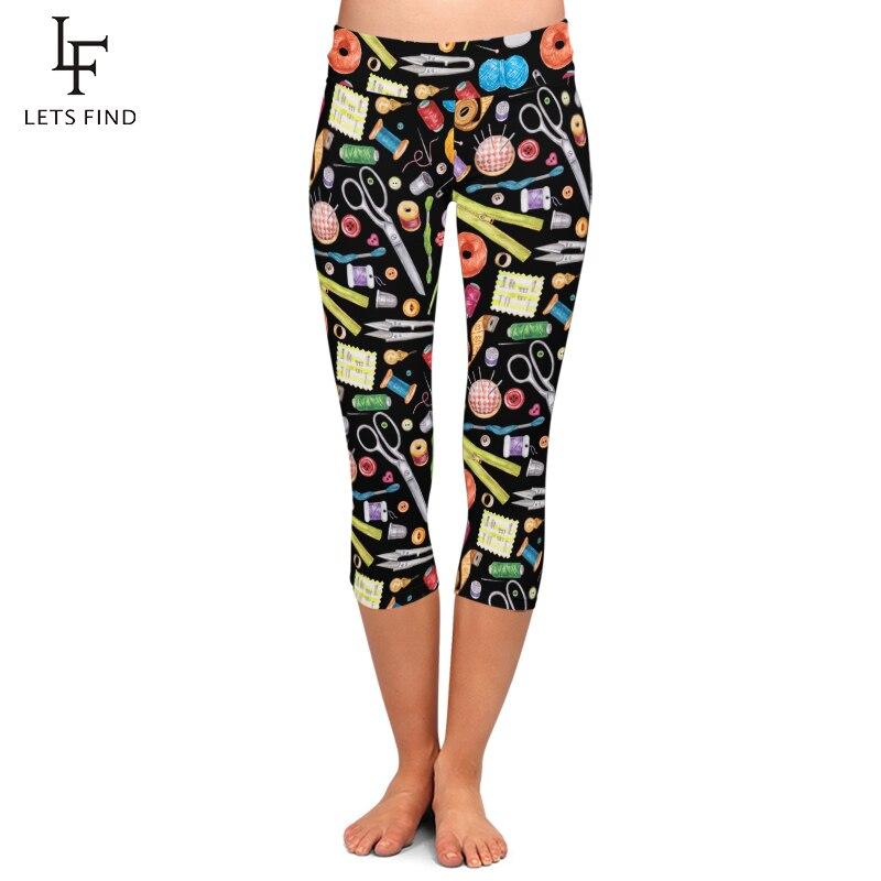 LETSFIND New Arrival Sewing Tools Print Women Elastic Mid-Calf Leggings Fashion High Wiast Plus Size Fitness Capri Leggings