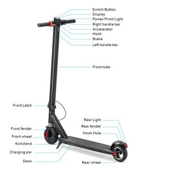 250W 6,5 scooter Eléctrico batería de litio plegable E scooter Patinete eléctrico Patinete Electrico Adulto Monopattino Elettrico