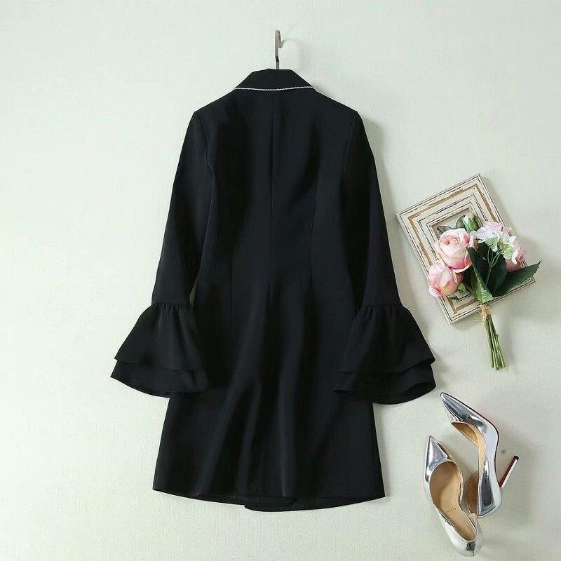 2019 Autumn Fashion Long Blazer Jacket High Quality Women Notched Collar Sequined Beading Flare Sleeve Single Button Blazer Coat