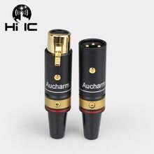 Escudo de alumínio Dourada 3Pin Adaptador de Áudio XLR Macho/Conector Fêmea Adaptador de Áudio Converter HIFI Cabo Equilíbrio