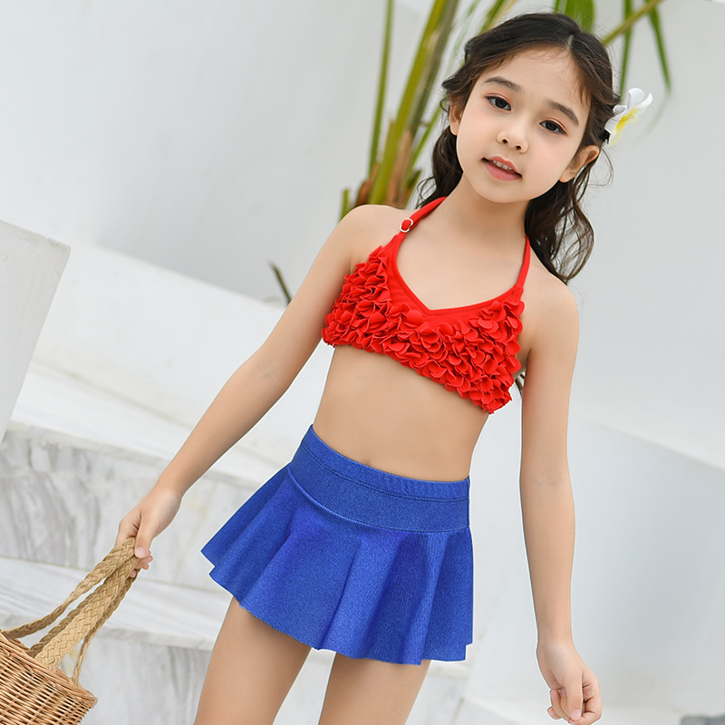 Children Two-piece Swimsuits Girls Big Boy Cute Stereo Flower Swimwear Multi-Size Hot Springs Swimwear