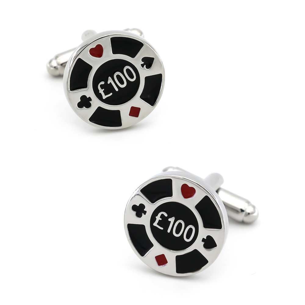 Casino Design Chips Cufflinks Quality Brass Material Black Color Cuff Links Wholesale & Retail