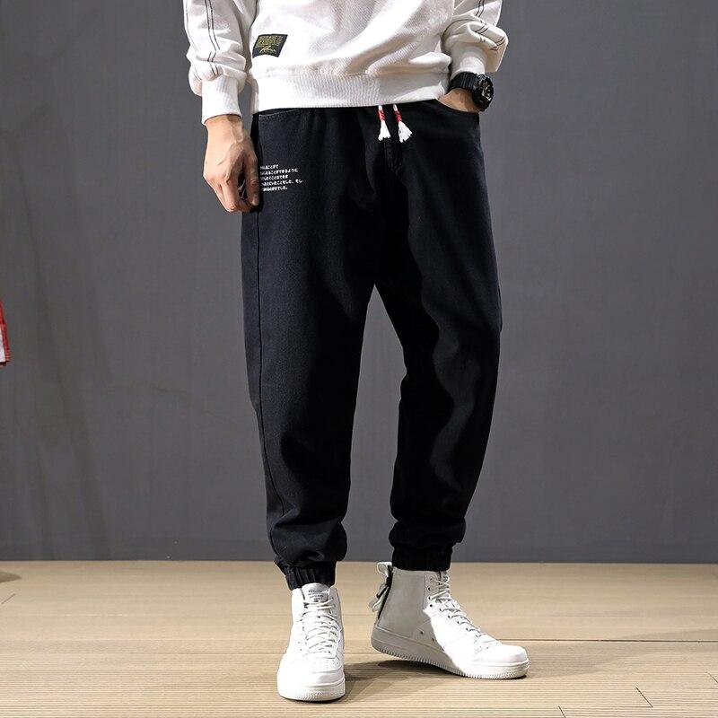 Fashion Streetwear Men Jeans Elastic Waist Printed Designer Black Harem Pants Slack Bottom Hip Hop Joggers Jeans Men Cargo Pants