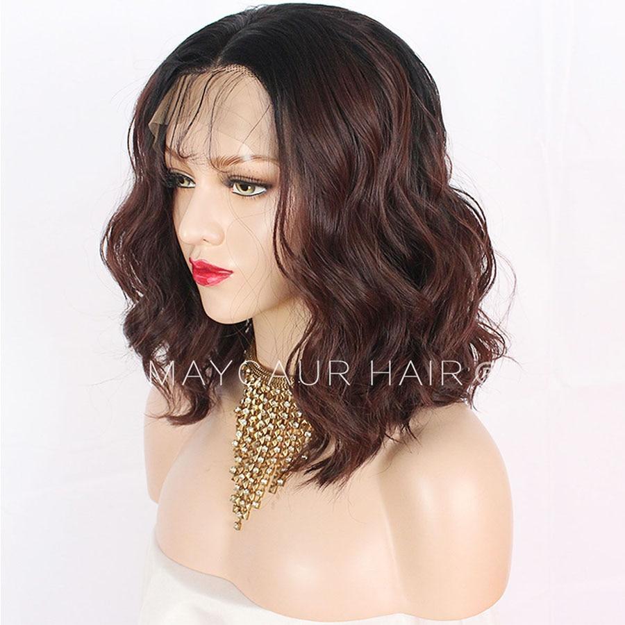 2 tons noir Ombre vert synthétique dentelle avant perruques résistant à la chaleur Fiber cheveux racines foncées court corps vague cheveux pour les femmes - 5