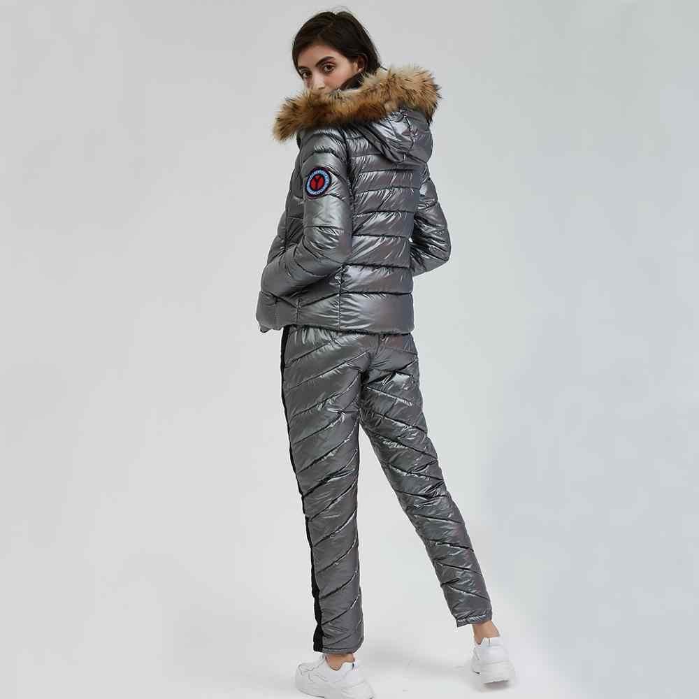 Wixra Зимняя парка с капюшоном костюмы комплекты из 2 предметов Элегантный Теплый уличная лыжный костюм прямой молнии толстые женские повседневные спортивные костюмы