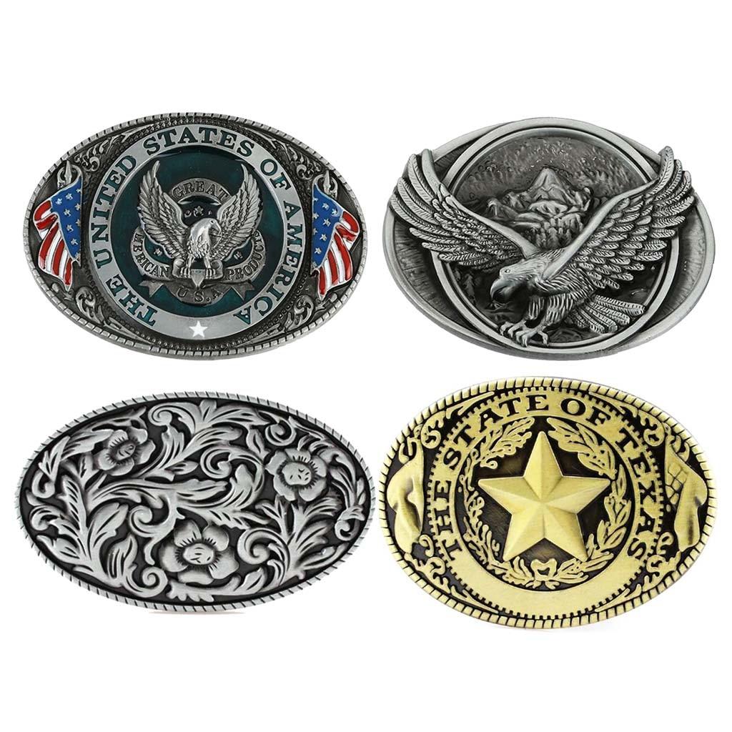Vintage Classic Metal Eagle Flag Belt Buckle For Western Cowboy Cowgirl Buckles Pentagram Cool Gold Sliver  пряжка для ремня