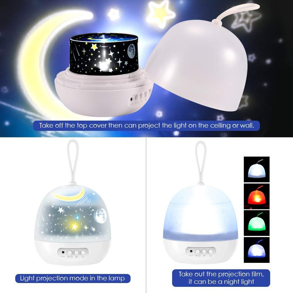 Night Light Projector Delicacy 4 Set Films 360° Rotating 8 Lighting Modes LED Night Lights Lamp for Kids Baby Bedroom Decoration 3