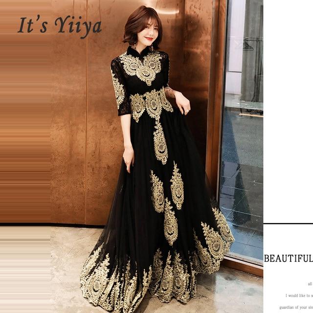 שמלת ערב גובה צווארון ארוך בתוספת גודל אלגנטי 2019 סקסי הולו נשים המפלגה שמלה חצי שרוול חלוק דה Soiree נשף שמלה e536