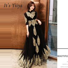 Abendkleid Hight Kragen Lange Plus Größe Elegante 2019 Sexy Hohl Frauen Party Kleid Halbe Hülse Robe De Soiree Prom kleid E536
