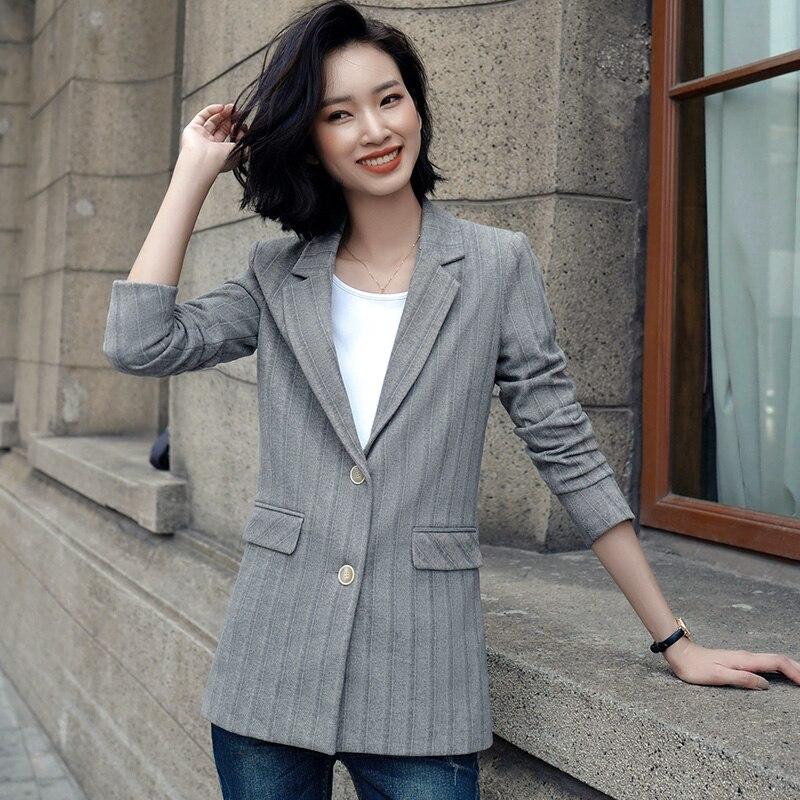 Blazers for Women Grey Herringbone twill Fashion Elegant Coat for office Ladies career Wear Jacket color  Beige Black Grey