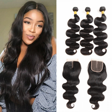 Human-Hair 3-Bundles with Closure-Malaysia Remy for Black Woman Natural-Color Friday-Sale