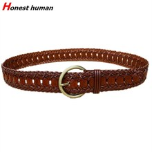 Women Kintted Genuine Leather Belt Vintage D shape buckle Waist Belt Female Dress  Braided Belt 100% Handmade Belt pin buckle