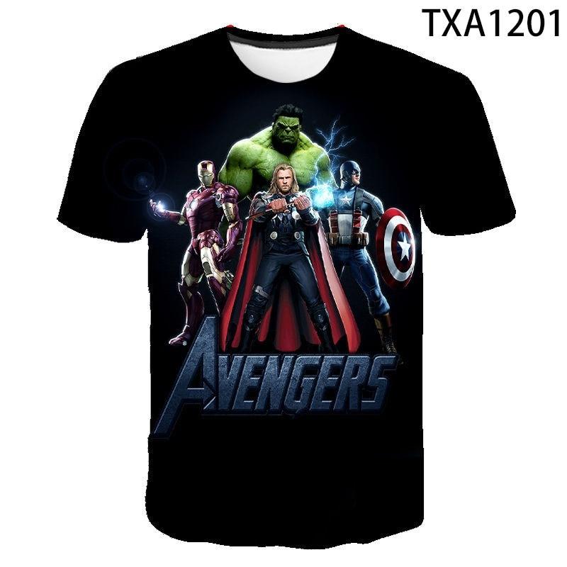 Мужская футболка с рисунком железного паука, с коротким рукавом, футболки для мальчиков и девочек с принтом Мстителей, капитана, 3D футболки, ...