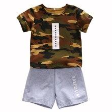 1-5Y Camflauge Clothes for Boys Cotton T-shirt+Shorts Pants Children Clothes Boy Set Toddler Outfits Kids Summer Clothes недорого