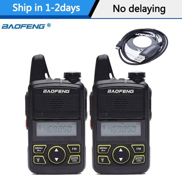 2Pcs Baofeng BF T1 BFT1 미니 워키 토키 cb 양방향 라디오 UHF 장거리 손전등 휴대용 트랜시버 휴대용 햄 라디오