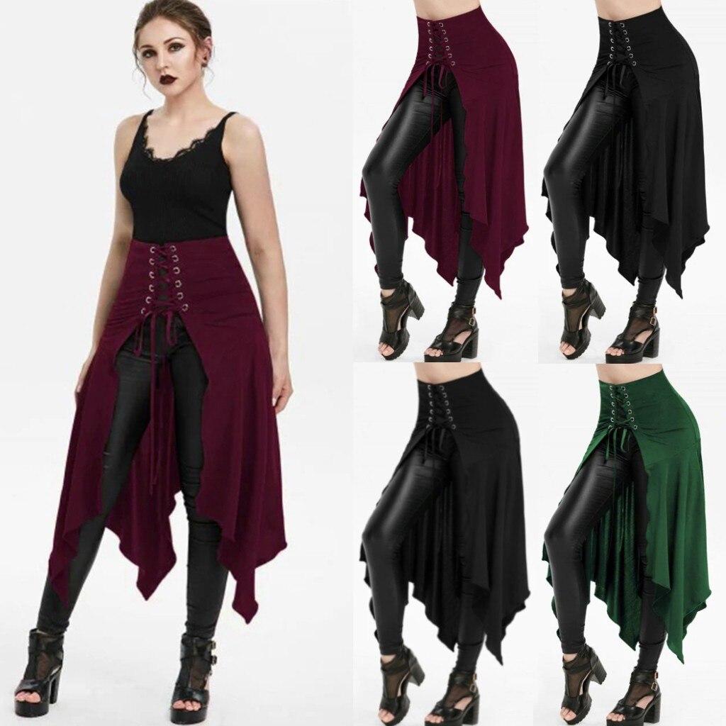 Women Halloween Gothic Punk Asymmetric Lace-up Slit Front Skirt A-Line Skirts Women jupe femme long skirt faldas mujer moda 2020