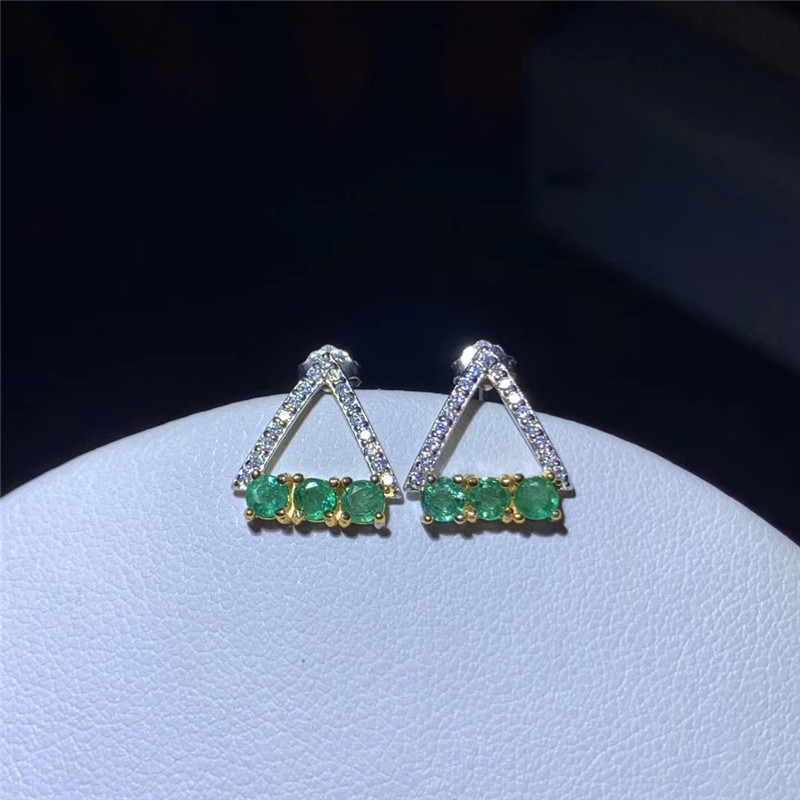 Fine Jewelry Stud Earrings For Women S925 Sterling Silver Green Emerald Natural Round Gemstone Earrings Elegant
