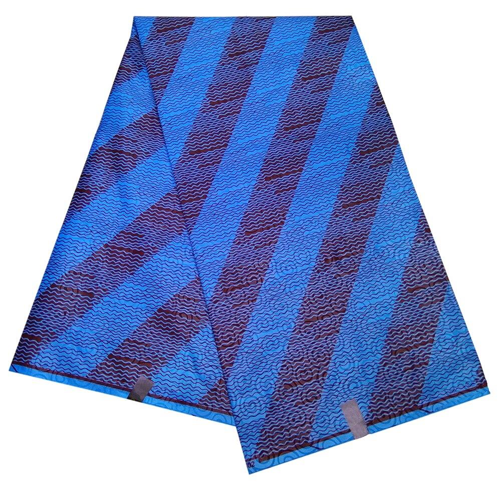 2019 Wax African Polyester Fashion Design For Women Dress African Stripe Print Wax Blue Fabric