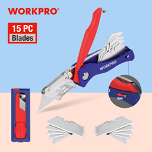 WORKPRO Folding Knife With 15 Blades Heavy Duty Stainless Steel Utility Knife Electrician Cutter Outdoor Hand Tools
