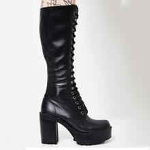 HARAVAL Luxury Woman Winter Knee-high Boot High Quality Roun Toe Square Heel Shoes Solid Classic Lace-up Fashion Basic Boots