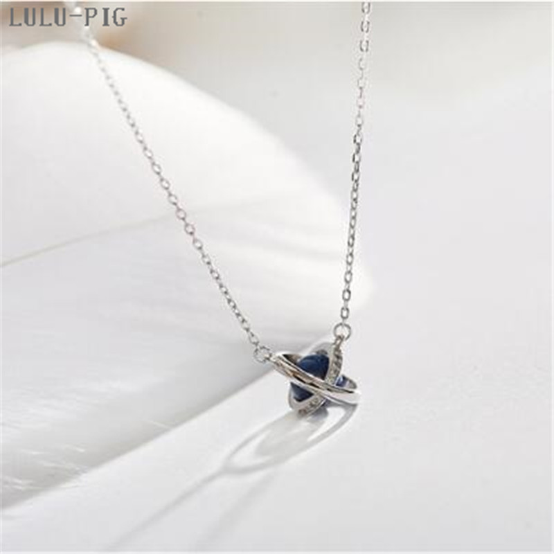 LULU-PIG New User BONUS Hot seller of the new Silver plated necklace galaxy star around pendant necklace woman C085 image