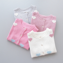 Spring Baby Girls Sweaters Kids Clothes Cotton Children Knitted Sweater Coat Cute Love Heart Girls Cardigan Jacket