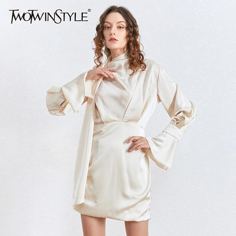 >TWOTWINSTYLE Elegant Lace Up Party Dress Women Asymmetric Collar Flare Sleeve High Waist Slim Mini Dresses <font><b>Female</b></font> <font><b>2020</b></font> <font><b>Clothing</b></font>