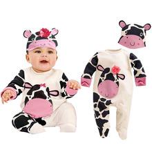 Śpioszki dla niemowląt + kapelusz Cartoon zwierząt chłopcy dziewczyny kombinezon kostiumy dla niemowląt noworodka Body zestaw ubrań dla dzieci 2 sztuk piękne zestawy dla niemowląt 0-12M tanie tanio NoEnName_Null COTTON O-neck Przycisk zadaszone Unisex Pełna 002-285-YR Pasuje prawda na wymiar weź swój normalny rozmiar