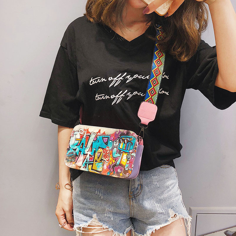 Fashion Luxury Girls Handbags Korean Version Women Shoulder Bag Graffiti Printed Small Square Bag Messenger Bag Crossbody Flap