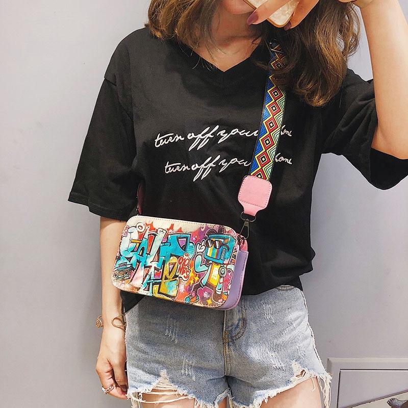Fashion Luxury Girls Handbags Korean Version Women Shoulder Bag Graffiti Printed Small Square Bag Messenger Bag Crossbody Flap