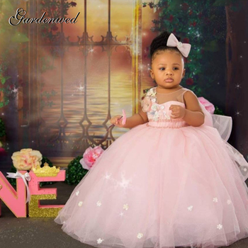 Puffy Pink Girl Ball Gown Dresses Tulle Flower Baby Baptism First Communion Dress Bow Knot Floweer Girl Dress Girl Wedding Dress elegant baby flower girl dresses with bow newborn party dress christening dress baptism gown tulle 1st birthday dress