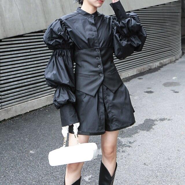 [EAM] Women Black Button Split Joint Asymmetrical Loose Fit Vest New Sleeveless   Fashion Tide Spring Autumn 2021 1K371 3