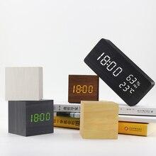 Alarm Clock LED Wooden Clock Voice Control Digital Wooden Desertador USB/AAA Powered Electronic Desktop Clock