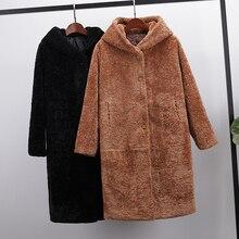Новое Осеннее зимнее пальто с широкой талией размера плюс из искусственного меха, Женская свободная длинная куртка с хлопковой подкладкой, теплое плотное пальто с капюшоном 834