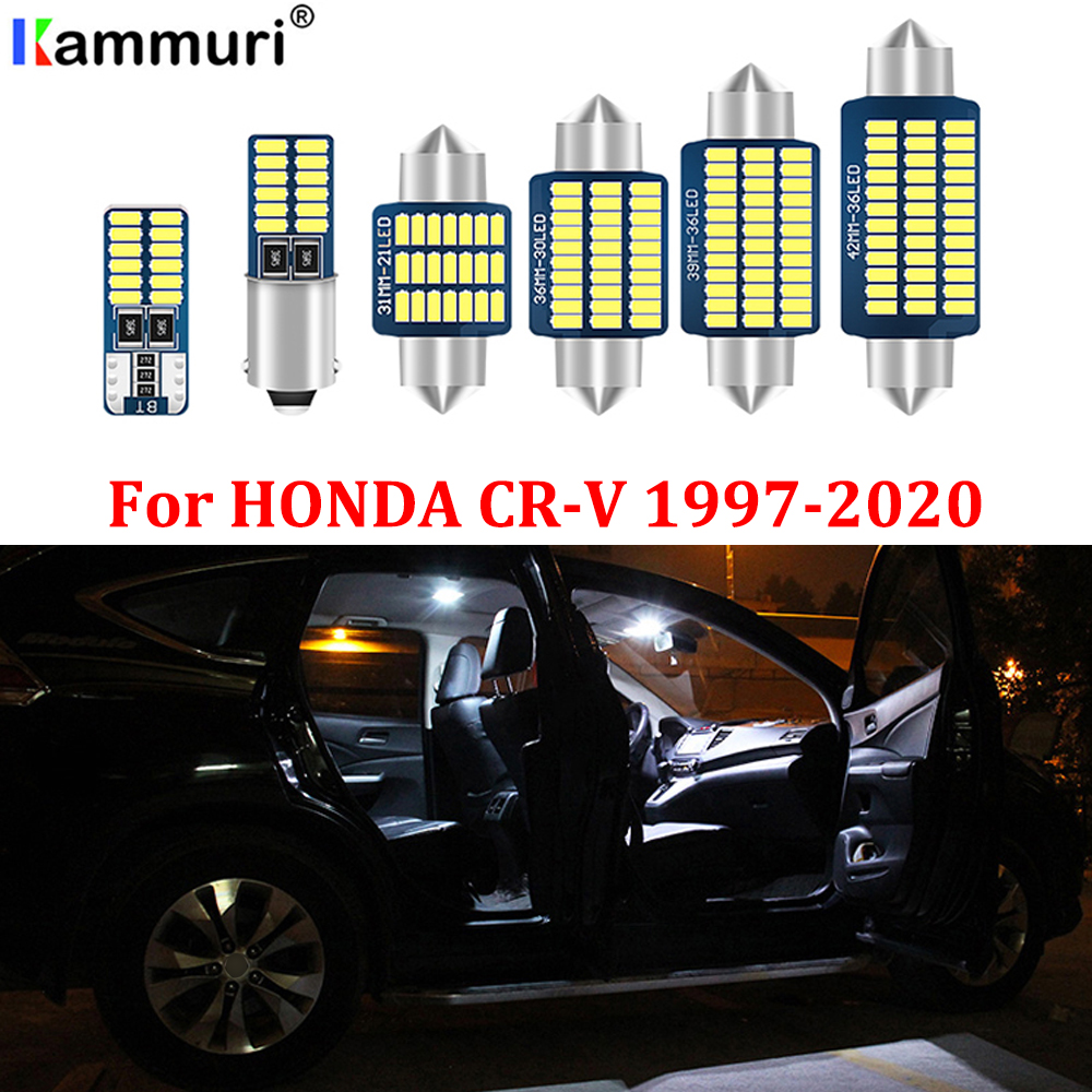 KAMMURI 100% No Error Premium White LED Car Interior Bulbs Package Kit For <font><b>1997</b></font>-2020 <font><b>Honda</b></font> <font><b>CR</b></font>-<font><b>V</b></font> CRV led Interior Light + Tool image