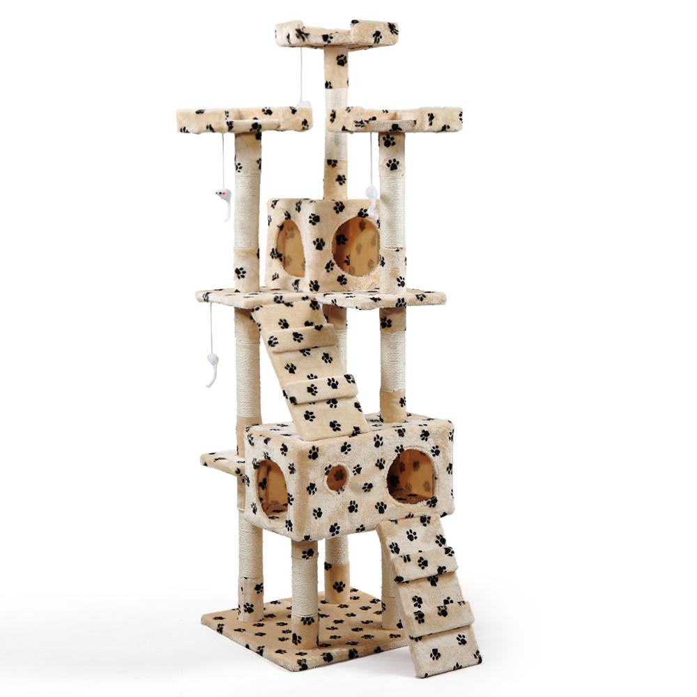 <font><b>Large</b></font> Multi-Level <font><b>Cat</b></font> <font><b>Tree</b></font> Condo Furniture With Scratching Posts Paw Print Pet Climb Playhouse Perch Hammock <font><b>For</b></font> Kittens AKC6410 image