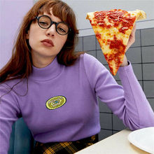 2020 High Collar Bottoming Women Purple Thread Embroidery T-shirt Ladies Leotard Pullover Tunic Tops Slim Solid Casual Shirt