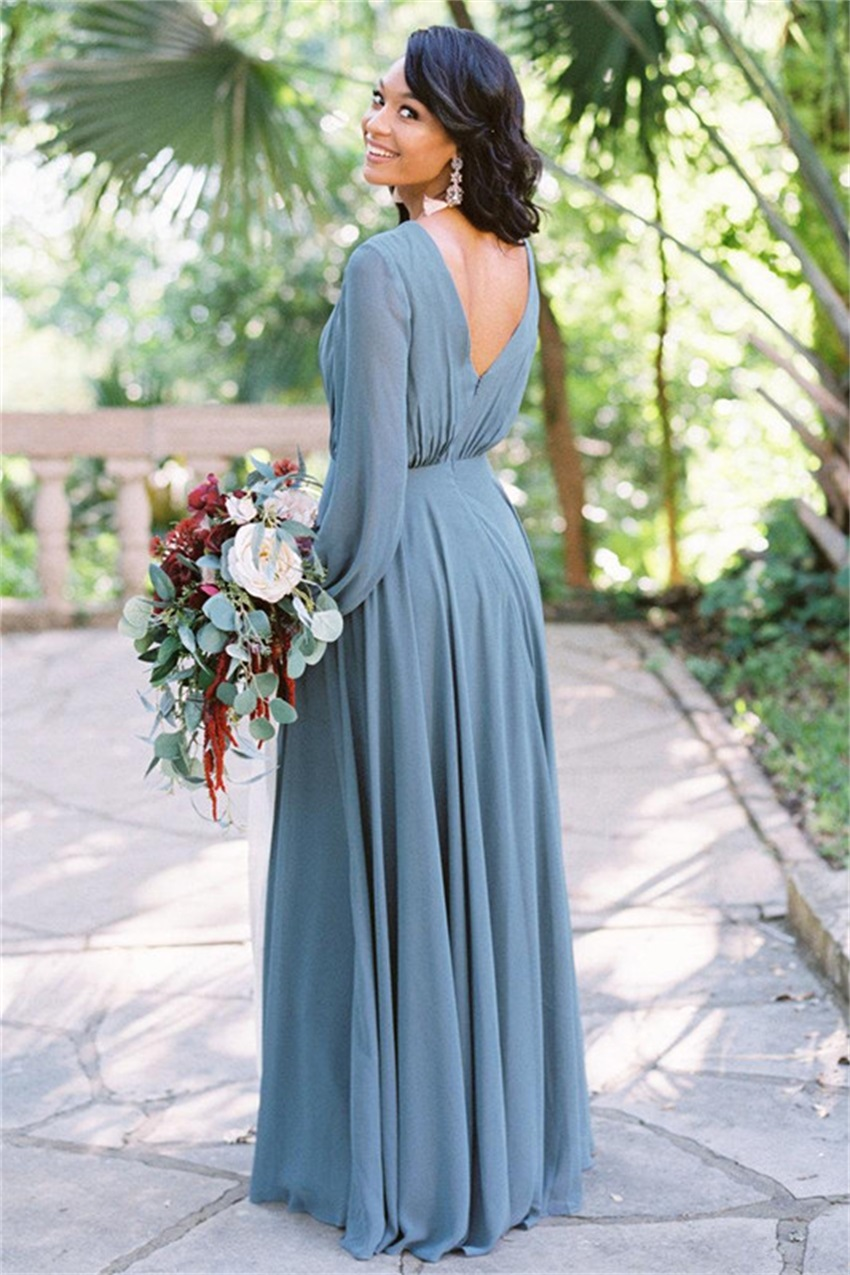 2020 Bohemia V Neck Chiffon Long Bridesmaid Dresses Long Sleeves Ruched Floor Length Wedding Guest Maid of Honor Dresses