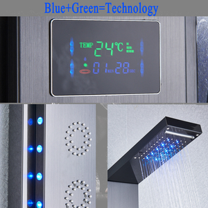 Image 4 - Black Bathroom Shower Panel Column LED Rain waterfall Faucet with Digital display Multifunction Tower Shower Faucet Mixer Tap