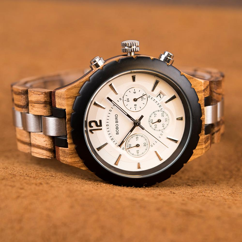 BOBO BIRD Luxury  Men Watch Classic Wood Metal Chronograph Auto Date Display Reloj Hombre 2019 Top Brand C-hR22 Dropship