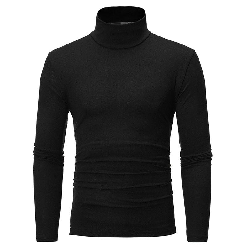 turtleneck for men Solid colour slim elastic thin pullover men Spring Autumn turtleneck men knitting brand sweater men 2