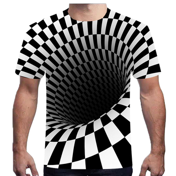 Black and White Swirl T-Shirt Men's Dizzy T-Shirt 3D T-Shirt Funny Hypnotic T-Shirt 2019 Summer Men's Casual Free Shipping6XL