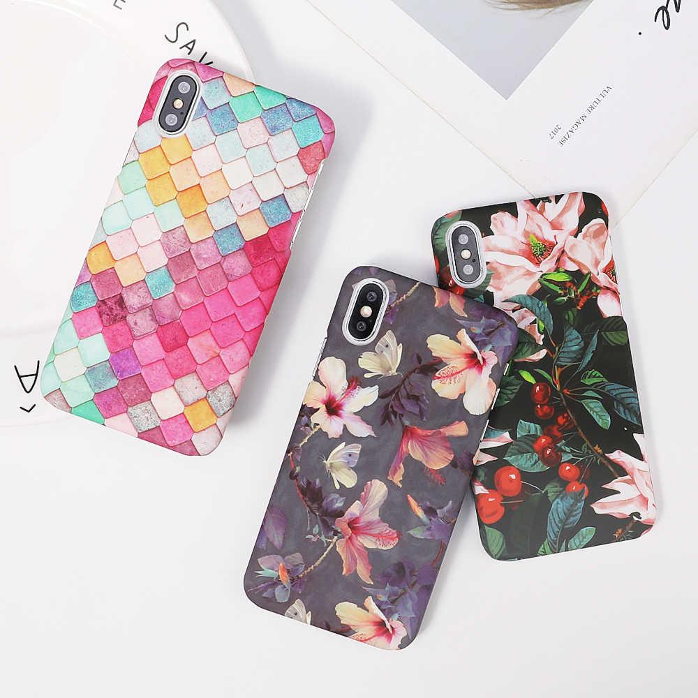 Чехол для телефона LOVECOM для iPhone XR XS Max 5 5S SE 6 6S 7 8 Plus X свежие растения листья цветы матовая жесткая задняя крышка для телефона чехол s