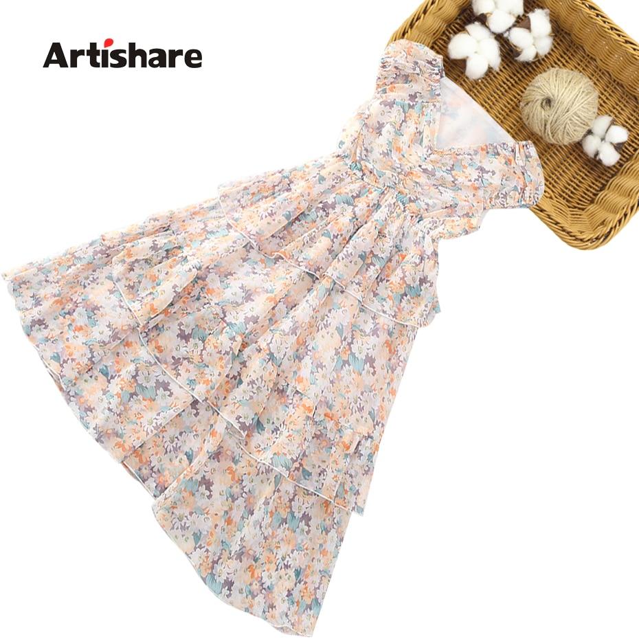 Dress Girl Floral Girls Dresses 2021 Tiered Dress For Children Summer Girls Clothing 6 8 10 12 14