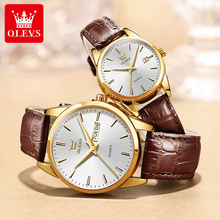 OLEVS New Casual Fashion Waterproof Luminous Pointer Quartz Watch Couple High Quality Breathable Leather Strap Watches 6898