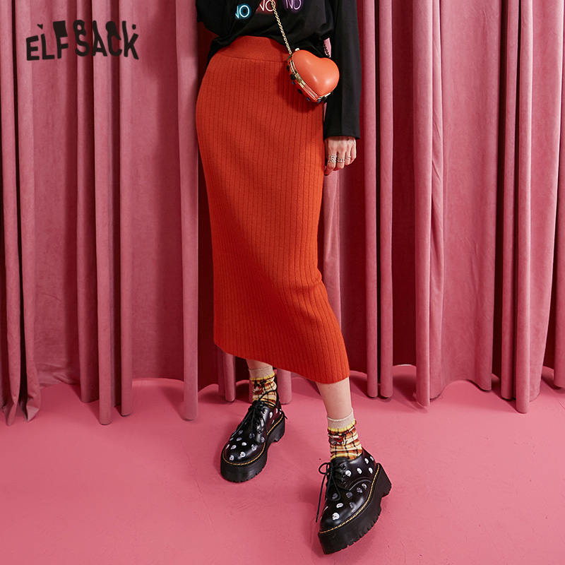 ELFSACK Black Solid Split High Waist Knitted Skirt Women 2019 Winter Caramel Pure New Fashion Skinny Office Ladies Daily Skirts
