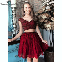 Two Pieces Short Homecoming Dresses for Teens Beaded Lace A Line Burgundy Graduation Dresses Prom Gowns Cocktail Gowns Cheap