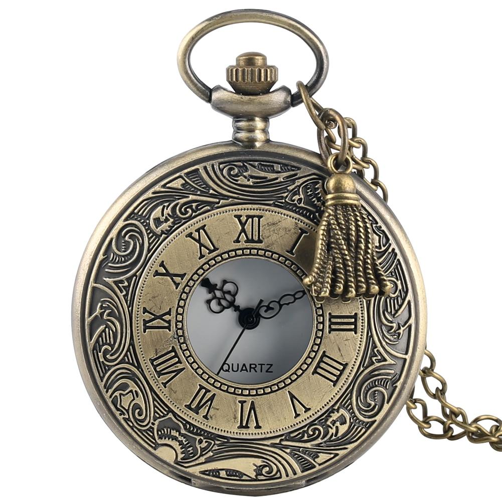 Antique Bronze Pocket Watches For Women Special Alloy Necklace Chain Trendy Quartz Pendant Watch For Male Accessory Zakhorloge