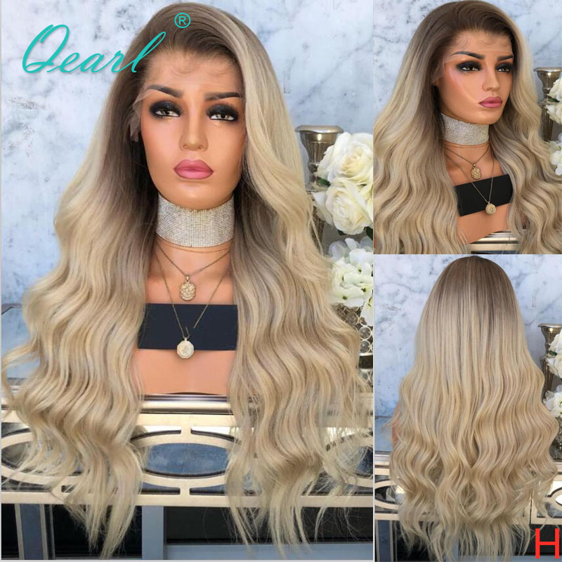 Free Part Human Hair Lace Front Wig Ombre Ash Blonde Color Indian Remy Wavy Lace Wigs 13x4 Preplucked Hairline 130% 150% Qearl