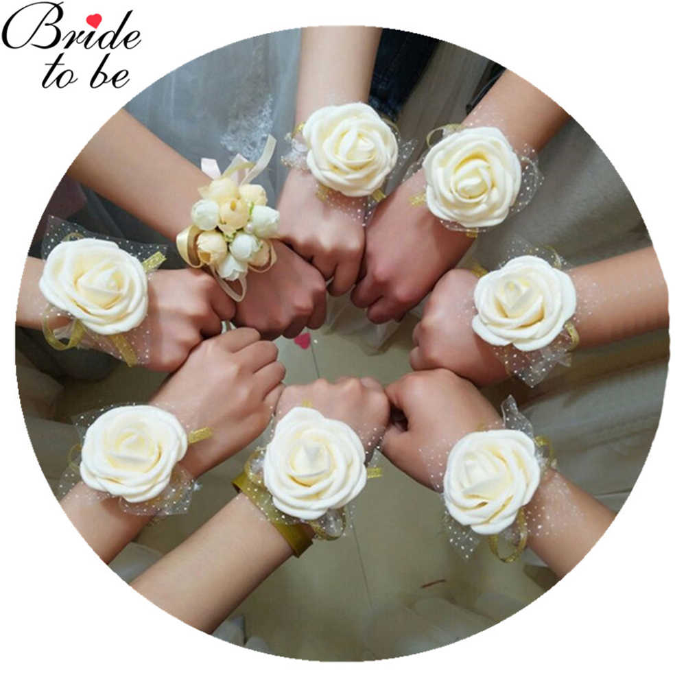 Wedding Decoration Artificial Rose Wrist Flower Bridesmaids Wedding Gifts for Guests Bridal Party Favors PE Wrist Fower 1 PC